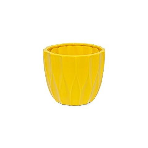 Blumentopf gelb glänzend Keramik Topf übertopf H-100 mm geometrische