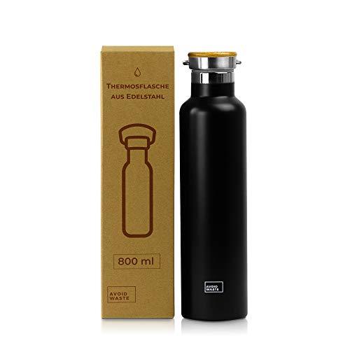 Avoidwaste Nachhaltige Edelstahl Thermosflasche - Edelstahl Trinkflasche - doppelwandig und auslaufsicher - matt schwarz (800 ml)