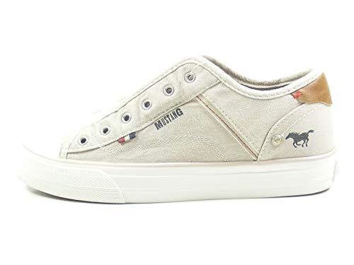 MUSTANG 1272-401 Damen Canvas Slip-on Slipper Sneaker, Schuhgröße:42 EU, Farbe:Beige