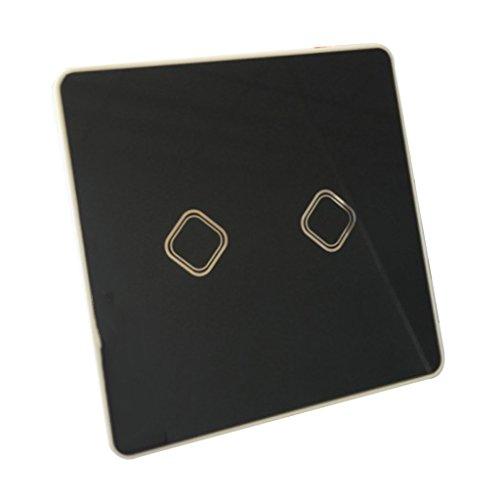 Homyl Touchscreen Schalter Wasserdicht 220V Touch Lichtschalter Glas Panel, Touch Panel Schalter mit Hintergrundbeleuchtung für Hause Büro-Weiß/Gold/Schwarz - Black_2 Gang -