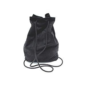 Rucksack aus Wildlederimitat, vegan, schwarz