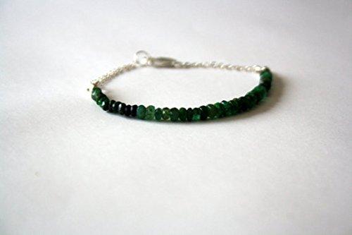 Smaragd Sterling Silber Armband, facettierten Farbe Graduated Edelstein Perlen Skinny Armband, Freundschaft Armband, Geschenke für ihre 3mm - Skinny Armband