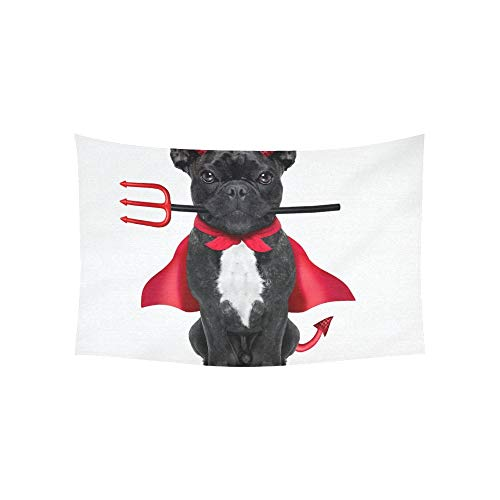Tapisserie Halloween Hexe Französische Bulldogge Hund Gekleidete Tapisserien Wandbehang Blume Psychedelic Tapisserie Wandbehang Indischer Wohnheim Dekor Für Wohnzimmer Schlafzimmer 60 X 40 Zoll