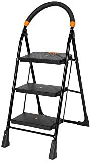 Happer Premium Foldable Step Ladder, Clamber, 3 Steps (Black & Ora
