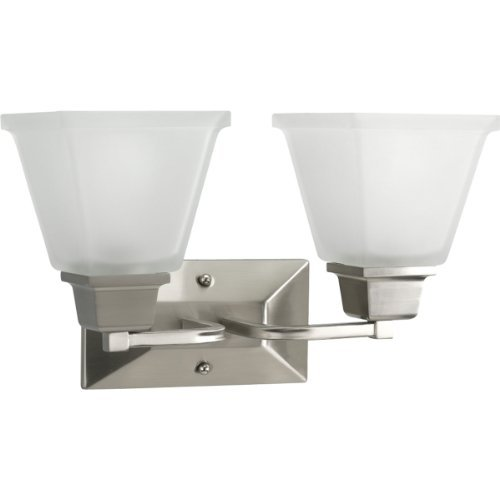 Progress Lighting P2738-09 2-Light Bath Fixture with Square Etched Glass and Can Mount Up or Down, Brushed Nickel by Progress Lighting - Square Bath Lighting