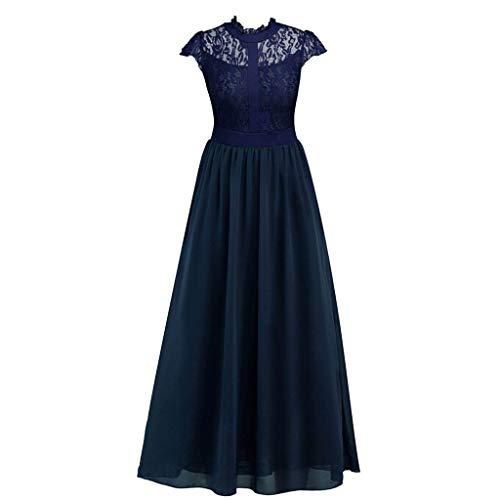 Damen Vintage 50er Jahre Retro Floral Spitze Swing Prom Kleid mit Kappe Ärmel Rundhalsausschnitt Hohe Taille Abend Party Cocktail Maxikleid 2XL navy -
