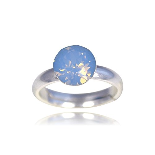 Crystals & Stones Ring *XIRIUS* *VIELE FARBEN* Swarovski® Elements - 925 Sterling Silber Damen Ring Größe Verstellbar! Sheer elegante Ring! PIN/75 (Air Blue Opal) (Echter Opal Ring Größe 7)