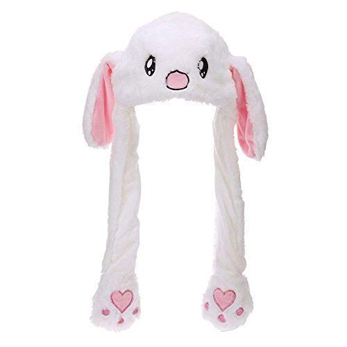 1f0f1150 ICEBLUEOR Funny Plush Bunny Rabbit Hat with Moving Ears, Funny Soft Plush  Moveable Bunny Cap