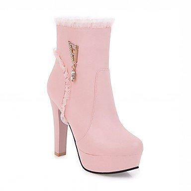 Rtry Women's Leatherette Chaussures Hiver Printemps Mode Bottes Chunky Bottes Bout Rond Babbucce / Strass Bottines Pour Casual Bureau Et Us9.5-10 / Eu41 / Uk7.5-8 / Cn42