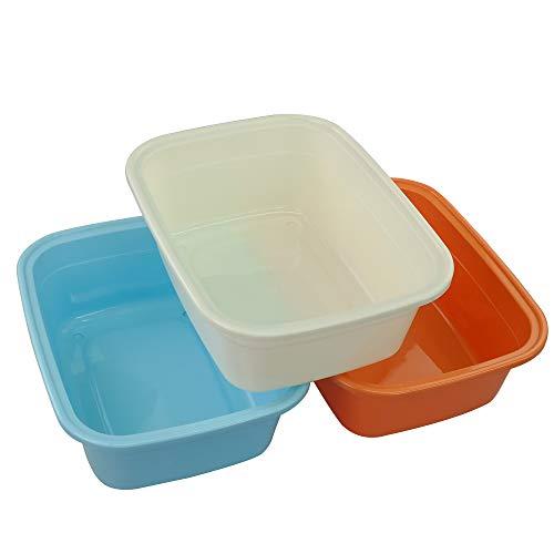 Fosly Barreño Plastico Rectangular de Colores, Pequeño Barreño, Paquete de 3 unidades