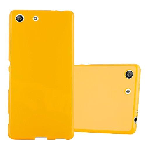 Cadorabo Hülle für Sony Xperia M5 - Hülle in Jelly GELB – Handyhülle aus TPU Silikon im Jelly Design - Silikonhülle Schutzhülle Ultra Slim Soft Back Cover Case Bumper