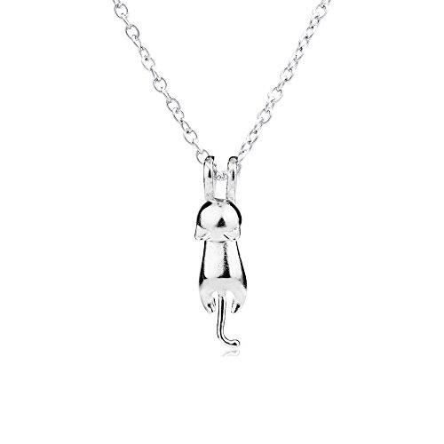 Collana con ciondolo 3d in argento a forma di simpatico gatto, superficie opaca o liscia, argento, colore: matte, cod. xl