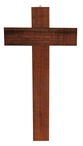 Kaltner Präsente Geschenkidee - 35 cm Wandkreuz Echt Nussbaum Holz Kreuz Holzkreuz Kruzifix für die Wand klassisch
