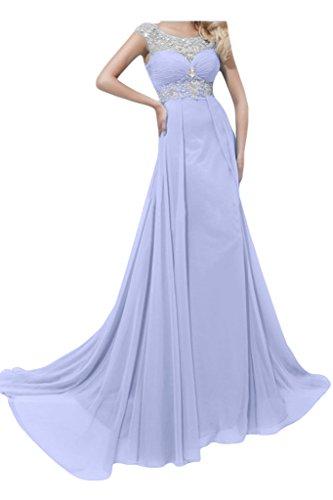 Ivydressing Damen Strass Rueckenfrei A-Linie Chiffon Lang Festkleid Promkleid Abendkleider Lavendel