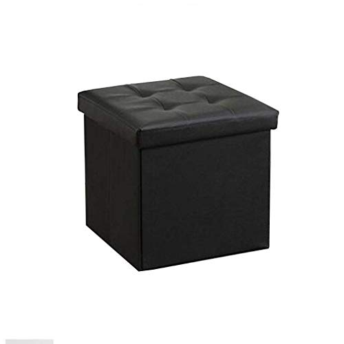 QQXX Kunstleder Folding Storage Ottoman Sitzbank Fußstütze Hocker Modern Fashion Hocker (Farbe: Schwarz) - Schwarz Folding Osmanischen