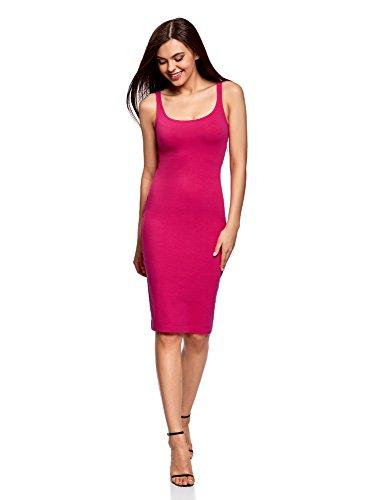 oodji Ultra Damen Jersey-Trägerkleid, Rosa, DE 34 / EU 36 / XS