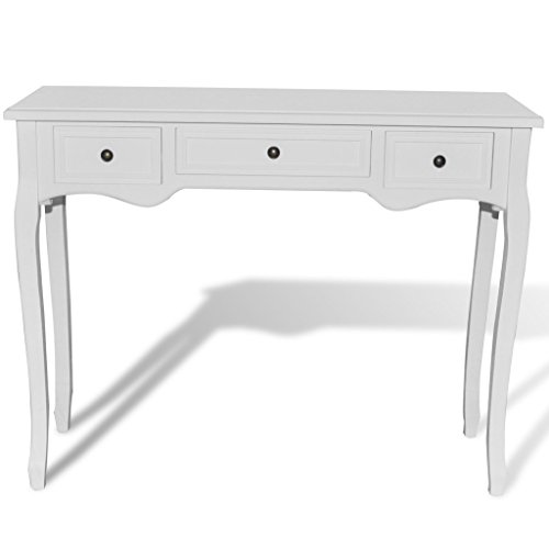 Festnight tavolo consolle allungabile con 3 cassetti bianco