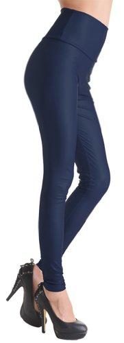 TDOLAH Damen Kunstleder High Waist Leggings Taillenhoch Strumpfhosen mit Farbwahl dunkel-blau