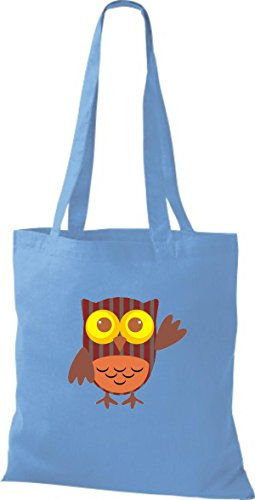 Owl ShirtInStyle Stoffbeutel Tragetasche Eule Bunte Farbe niedliche Retro hellblau Jute diverse rqqnCYAU