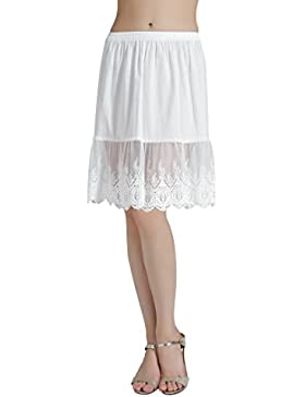 BEAUTELICATE Mujer Enaguas de Algodón Corta Antiestática Combinación para Vestido Antideslizante Plain Falda Marfil...