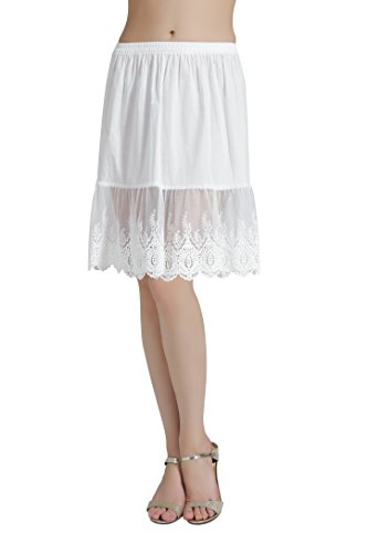 BEAUTELICATE Damen Unterrock 100% Baumwolle Vintage Kurz Halbrock Mit Spitze Stickerei Knielang Dirndl Petticoat, Elfenbein, M Für EUR (40-42)-55cm Länge -