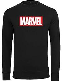 MERCHCODE Marvel Logo Crewneck Sudadera, Hombre, Negro, Large