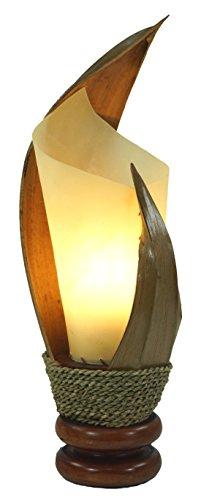 Guru-Shop Palmenblatt Tischlampe / Tischleuchte Palmera 5 Hell - Exotische Balilampe aus Natur-Material, Holz, 41x15x15 cm, Stimmungsleuchte, Tischlampe - Handgefertigtes Unikat