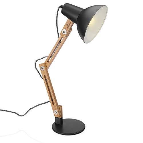 Navaris Design Holz Schreibtischlampe - E27 Fassung - mit Standfuß - Retro Tischlampe mit verstellbarem Gelenkarm - Vintage Nachttischlampe Grau