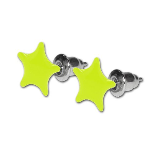 1 Paar Ohrstecker Neon Farben UV Aktiv Stern Sterne pink gelb grün weiß blau, Farbe:gelb