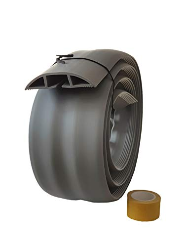 netproshop Fußboden Kabelkanal PVC (Flexibel, Selbstklebend, 75,2x17,4mm) (1,83 Meter), Farbe:Grau