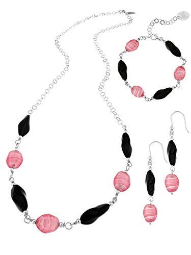 Venetiaurum - Set composto da collana bracciale e orecchini con perle in vetro originale di Murano e catena in Argento 925 - Gioiello made in Italy certificato