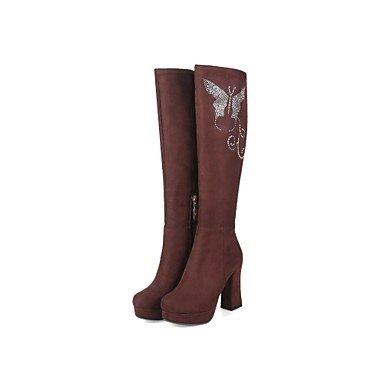 RTRY Scarpe da donna in pelle Nubuck Autunno Inverno lanugine Fodera comfort moda Stivali Stivali Chunky tallone punta tonda ginocchio stivali alti scintillanti Glitter US9.5-10 / EU41 / UK7.5-8 / CN42