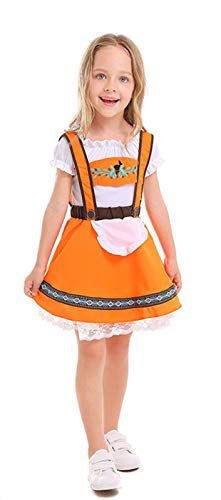 MOMBEBE COSLAND Mädchen Trachtenkleid Oktoberfest Kostüm Dirndl Karneval (Orange, S) (Oktoberfest Kostüm Mädchen)