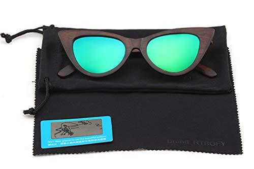 DAIYSNAFDN Holz Sonnenbrille Frauen Polarisierte Linse Cat Eye Brille Bambus Brillen Brillen Shades Uv400 C3