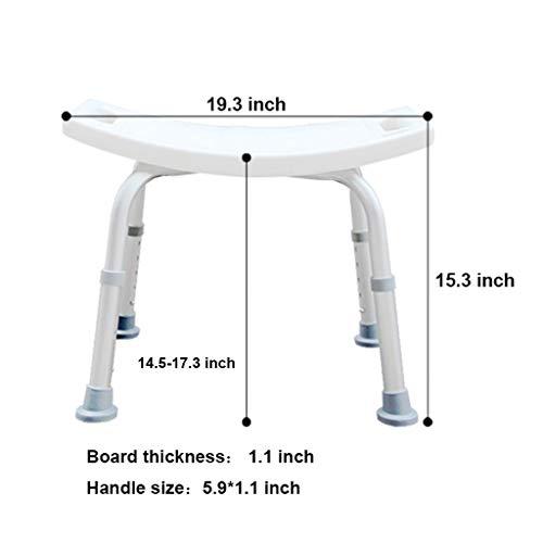 Kugga Deluxe Duschstuhl und Bank, Verstellbarer Badesitz, Abnehmbarer Rücken und Arm Badezimmerhocker (Design : Without Back) -