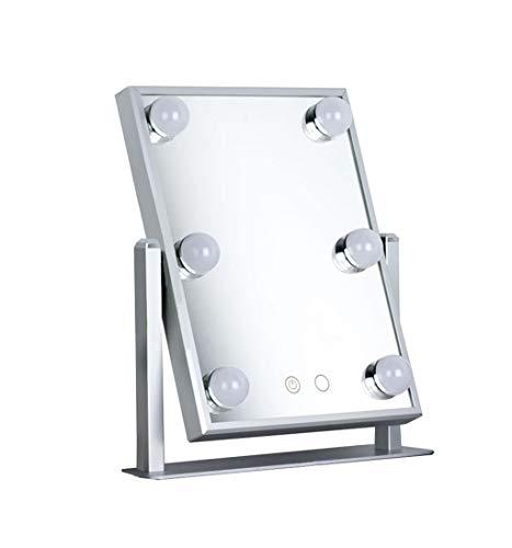 YYHSND Kosmetikspiegel Beleuchtungsset mit 6 dimmbaren Glühbirnen Kosmetische Kommode mit LED-Lampen Hollywood Style Makeup Mirror LED-Leuchten Wandspiegel (Color : Silver) -