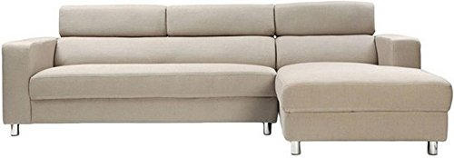 FabHomeDecor Mini Five Seater L-Shaped Sofa (Cream)