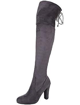 Overknee Stiefel Damenschuhe Klassischer Stiefel Pump Overknee Reißverschluss Ital-Design Stiefel