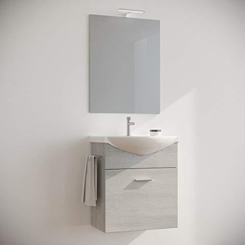MarinelliGroup Mobile Bagno salvaspazio sospeso 60 cm Rovere Bianco con lavabo in Ceramica Specchio e Luce LED. Ginestra