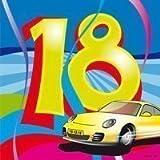 20 Servietten Zahl 18 Geburtstag bunt