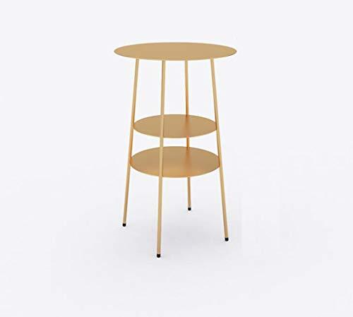 Bedside table JUN Couchtisch Wohnzimmer Sofa Runder Tisch Balkon Schließfach Einfache Moderne Nachttisch aus Schmiedeeisen (Color : Gold)