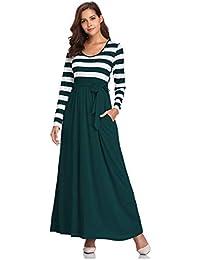 08c90f01f41d Fellissy Damen Kleider Tshirt Kleid Casual Maxikleid Blusenkleider mit Taschen  V-Ausschnitt Langarm locker Strandkleid