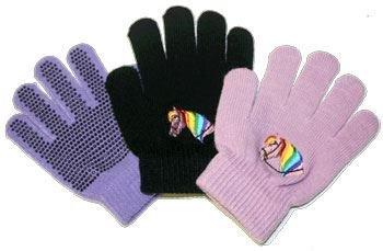 Saddlecraft Kinder Reithandschuhe, Motiv Pferdekopf, Handinnenseite mit Grip Violett violett Einheitsgröße