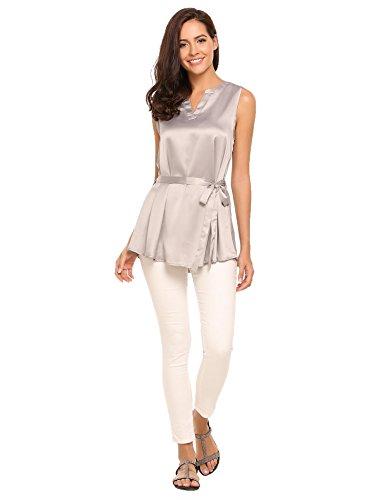 ACEVOG Tops Damen Armlos Shirt V-Ausschnitt Bluse Tunika mit Gürtel Oberteil Tank in 3 Frabe Grau