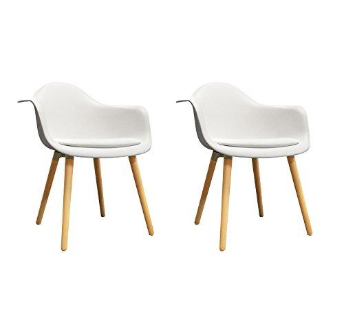 Meubletmoi Lot de 2 chaises Blanches accoudoir - fauteuils Design Vintage scandinave - Pieds Bois - Confortable et Robuste - Hans