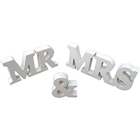 """NiceEshop-Lettere in legno, """"MR MRS"""" Wedding Signs & decorazioni fantasia di fotografie, colore: bianco"""