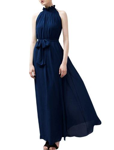 Femme Col Montant Sans Manche Plissé Elegant Robe Longue Mousseline Bleu Marine
