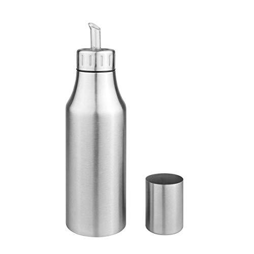 Aceitera de acero inoxidable deluxe resistente al polvo antigoteo aceite botella dispensador de salsa de soja vinagre botella (plata), acero inoxidable, plata, 750 ml