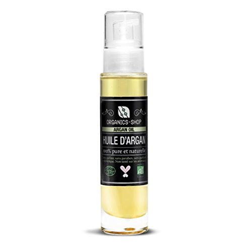 organics-shop Huile d'Argan BIO certifiée ECOCERT USDA 100% pure et naturelle préssée à froid sans sulfate paraben parfum non testé sur les animaux riche en vitamine e sans aucun ingredient chimique