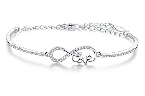 5a479a8a38a9 Armband 925 Sterling Silber mit Einem Unendlichkeit-Zeichen, mit Einem  Love-Schriftzug und
